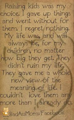 I regret nothing,my life was and will always be for my children no matter how big they get. They didn't ruin my life, they gave me a whole new view of the meaning of life Quotes For Kids, Great Quotes, Quotes To Live By, Life Quotes, Inspirational Quotes, Raising Kids Quotes, My Children Quotes, Funny Quotes, Baby Quotes
