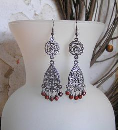 Red Jasper and Antique Silver Dangle Earrings by SmockandStone, $13.00