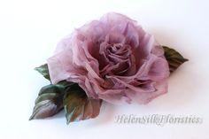 Purple Silk flower hair clip, Rose flower corsage, silk Rose, bridal floral headpiece, flower accessory