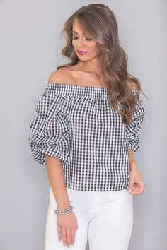 79203904c4ea5 A Darling Story Gingham Blouse Black Miami Sunset