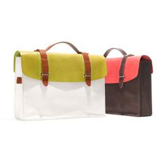 italian leather and japanese cotton canvas satchels