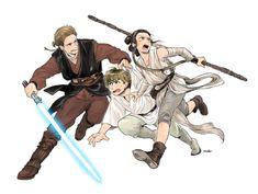 Anakin, Luke, and Rey
