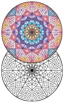 Geometrip.com - Free Geometric Coloring Designs - Download, Print, and Color!  Grown-up coloring pages ready to print!