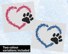 Pet heart cross stitch pattern dog cross stitch cat cross