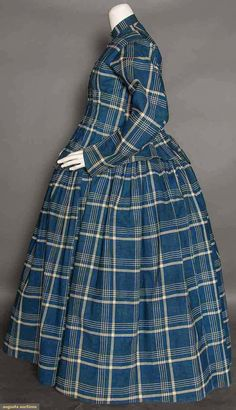 Indigo plaid print (Listed as maternity, pretty sure it's a saque and petticoat) dress, dark indigo & white plaid, . Maternity Wear, Maternity Fashion, Maternity Dresses, Maternity Pictures, Victorian Gown, Victorian Fashion, Vintage Fashion, Civil War Fashion, Civil War Dress
