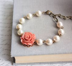 Coral Rose Bracelet Bridesmaids Jewelry by apocketofposies on Etsy