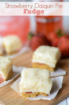 This strawberry daiquiri pie fudge is just like a strawberry daiquiri pie but in fudge form, and made with Bacardi Classic Cocktails Light! Delicious Fudge Recipe, Fudge Recipes, Candy Recipes, Dessert Recipes, Homemade Fudge, Homemade Candies, Yummy Treats, Sweet Treats, Yummy Food