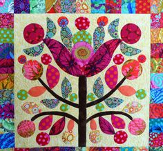 Detail, Lollypop Trees by Liza Harrison.  2014 Lakeview Quilters Guild photo by Sue Garman.