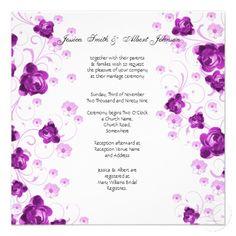 Purple Peony Blossom Swirls Wedding Invitation