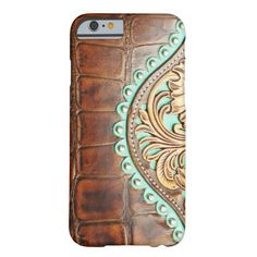 Western Style Alligator Leather Look Turquoise Barely There iPhone 6 Case