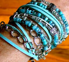 Boho Multilayer Leather Chain Beaded Necklace and Wrap Bracelet Ovarian and all Gynecological Cancer Awareness. $65.00, via Etsy.