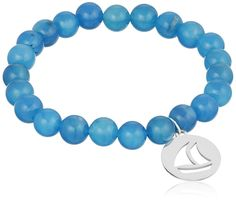 Sterling Silver Sailboat Charm 8mm Dyed Blue Agate Stretch Bracelet 7.5' *** Read more  at the image link.
