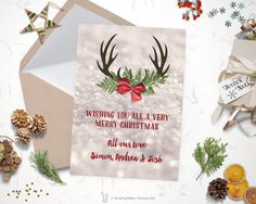 Printable Snow and Antlers Christmas Card - Holiday Card - 5 x7 - Do it yourself Customizable Printable Christmas Card by TheSpringRabbit on Etsy