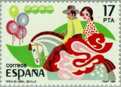 Stamp: April Fair. Seville (Spain) (Popular Festivals: Horse Fair in Jerez)…