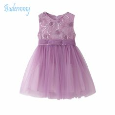 Budermmy Girls Dress for Summer Birthday Party Wedding Princess 2017 New Flower Cotton Dress for 5-10 Girls Clothing