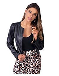 PU Cropped Open Style Jacket KRISP PU Cropped Open Style Jacket This standout cropped jacket falls between casual and occasion wear. Wear leatherette shrugs with high waisted trousers and French scarf or bodycon midi dresses and heels. Faux Leather Jackets, Pu Leather, Collar Styles, Dress And Heels, Coats For Women, Amazon, Long Sleeve, Women's Coats, Cropped Top