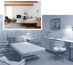 The archival Nelson Daybed from the 1950s and an #Eames upholstered wire chair DKR