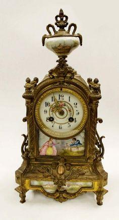 Lot: Antique B&G Mantel Clock w/ Porcelain Face, Lot Number: 0006, Starting Bid: $125, Auctioneer: Houston Antique Auction LLC, Auction: Summer Fine Asian Works of Art Auction, Date: June 18th, 2017 EDT