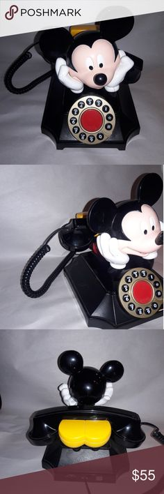 Vintage Disney Mickey Mouse Push Button Phone Highly Collectable Like New Pulse or Tone Has small scuff on handle Disney Box PP Disney Accents Mickey Mouse Phone, Disney Mickey Mouse, Minnie Mouse, Vintage Disney, Accent Colors, Black N Yellow, Fashion Tips, Fashion Design, Fashion Trends