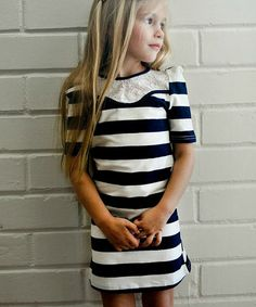 Take a look at this Navy Stripe Lace Dress - Toddler & Girls by POP Couture on #zulily today!