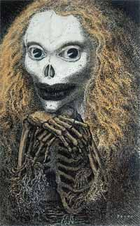pen and ink drawing of a skeleton with lipstick and red hair