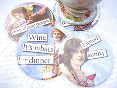 Coasters, Coffee, Wine Coasters, Drink Coasters, Retro Diva Coasters, Tableware, Hostess Gift, Birthday Gift, Best friends gift, Set of 2.  #BestFriendsgift #coasters #coffeecoasters #craftyirelandteam #DivaCoasters #DrinkCoasters #PartyFavors #RoundCoasters #RubysNeedfulGifts #stockingstuffer #TableCoasters #TecreCoasters #WineCoasters:separator: