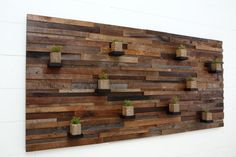 Wood wall art with floating wood shelves