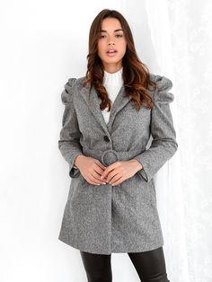 Παλτό Κοντό Με Ζώνη Γκρι – Negroni Jackets, Coats, Fashion, Down Jackets, Moda, Wraps, Fashion Styles, Coat, Fashion Illustrations