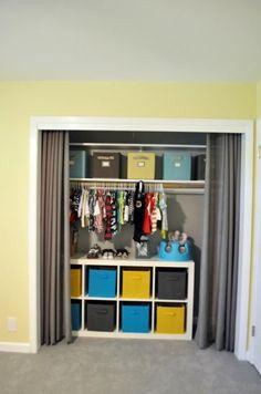 Closet door alternative, hanging clothes, closet organization for baby, kid Curtains For Closet Doors, Hallway Closet, Boys Closet, Closet Bedroom, Curtain Closet, Kitchen Curtains, Home Design, Design Ideas, Closet Door Alternative