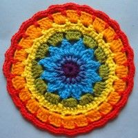 Crochet Mandala Wheel made by Sarah, Rotherham, UK for yarndale.co.uk. Take a look here at the Yarndale pinterest boards for 100s of lovely Mandalas: http://www.pinterest.com/yarndale/