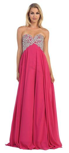 Long Strapless Prom Dress Empire Waist Plus Sizes Formal Cocktail Designer Gown