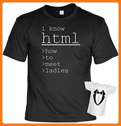 lustiges Funshirt + gratis Mini Shirt - Motiv - i know html - how-to-meet-ladies - Fun T-Shirt Sprüche Geschenk Geburtstag