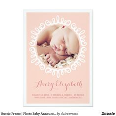 Rustic Frame | Photo Baby Annoucement 5x7 Paper Invitation Card