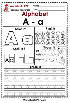 Letter A - a ( Activities - Free Printables ) - Worksheets PDF Letter Activities, Free Printable Worksheets, Printable Letters, Alphabet Worksheets, Preschool Activities, Free Printables, English Letter, English Alphabet, Clock Games For Kids
