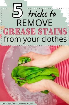 Don't you hate it when you get a grease stain on your shirt when cooking oil pops onto your shirt? You'll want to check out these 5 tricks to remove grease stains from clothes to help get rid of that stain! Remove Oil Stains, Grease Stains, Just Cooking, Cooking Oil, Home Economics, Clean Freak, Household Tips, Spring Cleaning, Cleaning Hacks