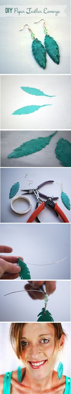 How to Make Paper Feather Earrings @savedbyloves, made using the paper feathers I attached to my business cards at snap this year.