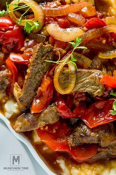 Tender Crock Pot Pepper Steak in amazing thick sauce. Easy dinner recipe for busy moms.