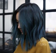 145 stunning hair color trends for girls – page 1 Short Blue Hair, Dark Blue Hair, Blue Ombre Hair, Navy Hair, Dark Hair With Color, Black Hair With Blue Highlights, Blue Tips Hair, Denim Blue Hair, Dyed Hair Blue