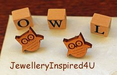 Wooden Owl Small Statement Earrings  Sterling Silver Butterfly Stud Posts. Natural Alder Wood Earrings. Bird Earrings. Owl Face Earrings by JewelleryInspired4U, $15.00  USD https://jewelleryinspired4u.zibbet.com/