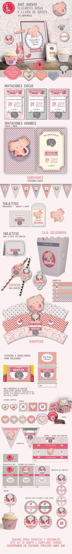 Kit imprimible Baby shower elefantes Rosas y grises