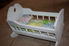 Cottage White Wooden Baby Doll Cradle/Solid by ThePaintedPapillon