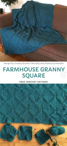 Farmhouse Granny Square Free Crochet Pattern - Lovely and Easy Granny Blankets - Crochet Afghans, Crochet Stitches, Knit Crochet, Crochet Blankets, Crotchet, Diy Blankets, Crochet Bedspread, Crocheting Patterns, Granny Square Häkelanleitung
