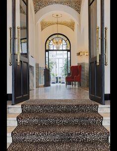 Leopard Print Carpet Stair Runner With Black Doors