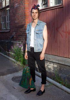 Johannes - Hel Looks - Street Style from Helsinki; Love how a guy wears a headband. Looks awesome!