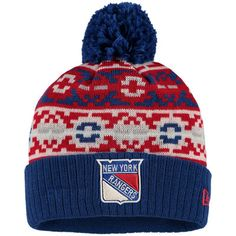 b14cff87148 Men s New York Rangers New Era Blue Retro Chill Cuffed Knit Hat With Pom