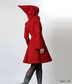 Red hooded Coat with tall collar  Camille   CUSTOM by Malam, €330.00