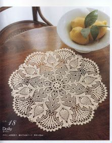 Large round napkin with pineapples