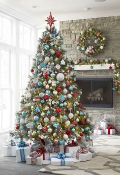 Spread holiday cheer around your home by setting up your Christmas tree early! Get the look of vintage-inspired glass ornaments with the benefits of shatter-proof (safe for kids and pets! Christmas Tree Wreath, Christmas Tree Themes, Blue Christmas, Christmas Tree Decorations, Christmas Holidays, Christmas Morning, Colorful Christmas Tree, Christmas Tree Trends 2018, Vintage Christmas Trees