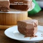 Triple Layer Chocolate Mousse Cake. Glutenfree Vegan Recipe. No Bake, No Palm oil
