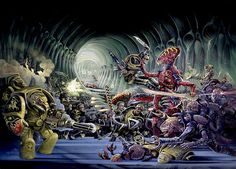 40k - Scythes Of The Emperor Space Marines vs Tyranids of by Chris Achilleos (old school).